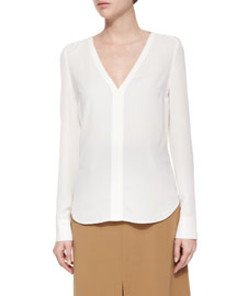 Cleary Silk V-Neck Top, Eggshell