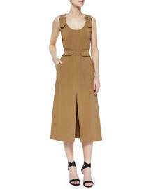 Alice Buckled Crepe Dress, Camel