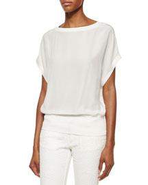 Bateau-Neck Dolman-Sleeve Top, White