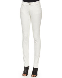 Five-Pocket Textured Skinny Jeans, White
