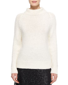 Calo Mock-Neck Knit Sweater, White