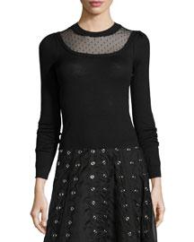 Long-Sleeve Sweater W/ Swiss Dot Detail