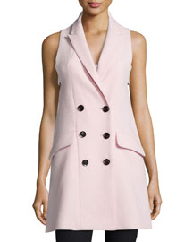 Tessa Sleeveless Crepe Dress, Powder Pink