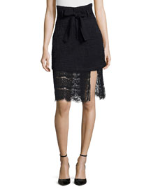 Gaston Tweed/Lace Combo Skirt, Black