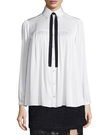 Esther Tie-Neck Flowy Blouse, White Combo