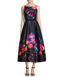 Sleeveless Floral-Print Tea-Length Dress