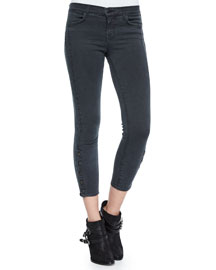 Suvi Skinny Button-Cuff Utility Pants, Chrome