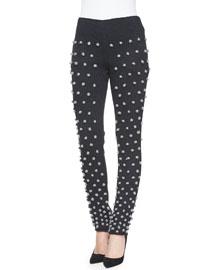 Screentone Skinny Pom-Pom Pants, Black