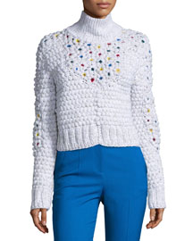 Lada Wool/Crochet Cropped Sweater, White