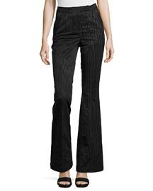 Moire High-Waist Flared Pants, Black