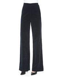 Laura High-Waist Wide-Leg Velvet Pants, Dark Night