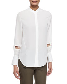 Ladder-Embroidered Silk Blouse, Antique White