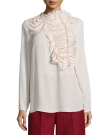 Crushed Ruffled-Front Silk Blouse, Frost
