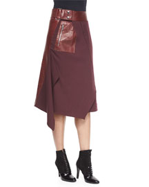 Leather-Wool Flight Detail Skirt, Crimson