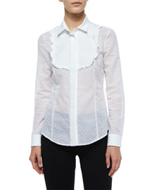 Long-Sleeve Flocked Blouse W/ Bib