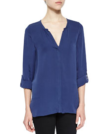 Kahari 3/4-Sleeve Silk Top, Dark Navy