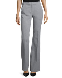 Anson Stretch Boot-Cut Pants, Heather Gray