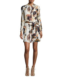 Floral-Print Silk Shirtdress, Desert Rose