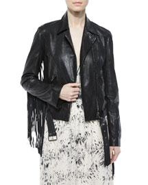 Leather Belted Moto Jacket W/ Fringe