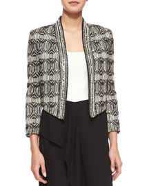 Tribal-Print Chevron-Embellished Jacket, Swan/Black