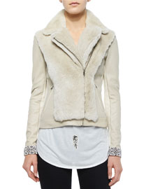Long-Sleeve Fur Jacket w/Embellished Cuffs, Buff