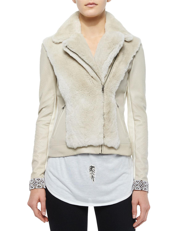 Haute Hippie Long-Sleeve Fur Jacket w/Embellished Cuffs, , Size: M Tan (Buff)