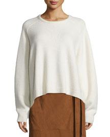 Cashmere Cozy Rib-Trim Pullover Sweater, Ivory