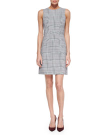 Raneid Brant-Check Sleeveless Dress, Black/White