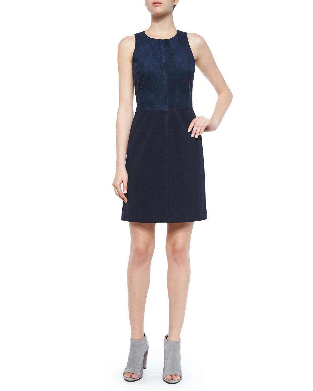 Theory Jinxil Sleeveless Suede Ponte Dress, Navy, Size: 10