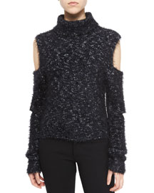 Metallic Cutout Turtleneck Sweater, Black