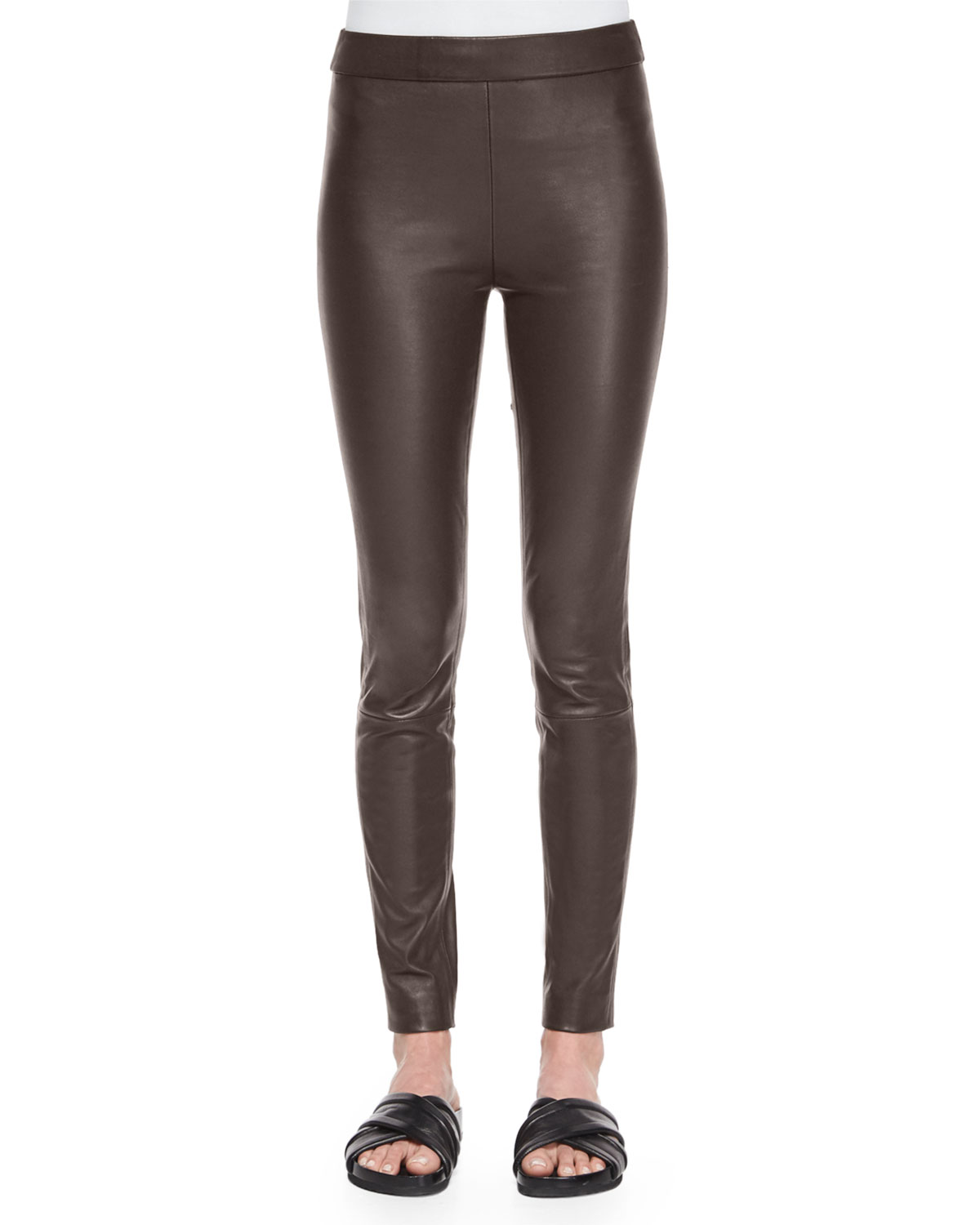 Theory Adbelle Leather Axiom Pants, Men's, Size: 2, Dark Army