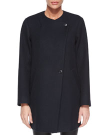 Venizka Camden Asymmetric Wool-Blend Twill Coat