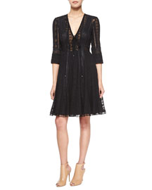 Embroidered Chiffon Dress, Black