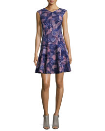 Sleeveless Abstract-Print Fit-and-Flare Dress, Deep Purple