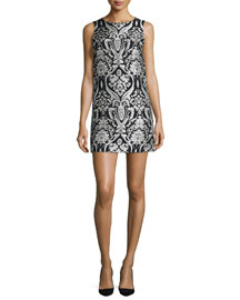 Clyde Sleeveless Floral Shift Dress, Black/White