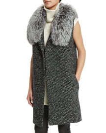 Droneta Wool-Blend Vest with Fur Collar, Black/White