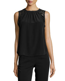 Sleeveless Embroidered Silk Blouse, Black
