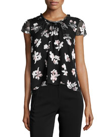 Cap-Sleeve Woven Floral-Print Blouse, Black