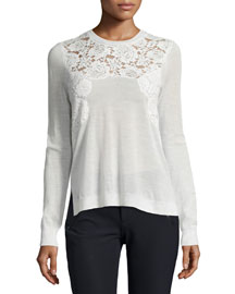 Embroidered Pullover Sweater, Chalk
