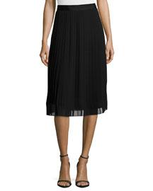 Georgia Pleated Chiffon Skirt, Black