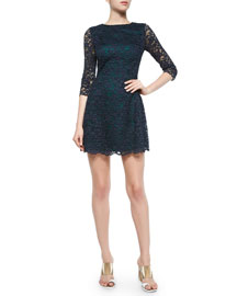 3/4-Sleeve Lace Dress