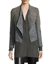 Oliver Studded Leather Jacket, Gray