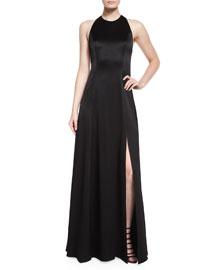 Wen Leather-Trim Satin Gown, Black