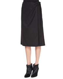Anning Side-Tie Stretch-Wool Skirt