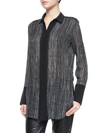 Wavy Stripe-Printed Blouse