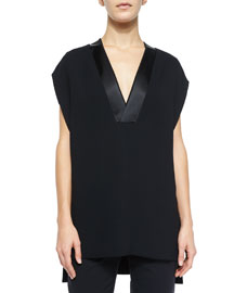 Cap-Sleeve Satin-Trim Top