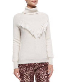Long-Sleeve Fringe-Detail Sweater, Oatmeal