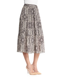 Printed Silk Midi Skirt, Shadow Snake