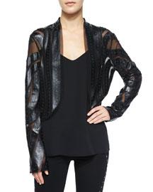 Long-Sleeve Studded Faux-Leather Jacket, Black