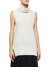 Ribbed Sleeveless Turtleneck Sweater